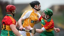 Antrim's Odhran McFadden battles with Carlow's Shane Kavanagh and Paul Coady in last year's Leinster Championship game