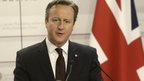 David Cameron speaking in Riga after the Eastern Partnership summit