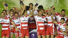 Billy Twelvetrees, the Gloucester captain, raises the trophy after his team's victory in the European Rugby Challenge Cup final