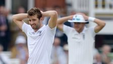 Mark Wood and Stuart Broad react to a missed opportunity