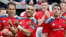 Simon Zebo (centre) celebrates after scoring Munster's first-halt try at Thomond Park