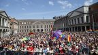 Crowds gathered at Dublin Castle for referendum count results