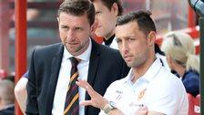 Ian Baraclough looks on with rested striker Scott McDonald