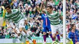 Stefan Scepovic celebrates an early goal for Celtic