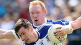 Cavan's Cian Mackey battles with Monaghan's Karl O'Connell at Breffni Park