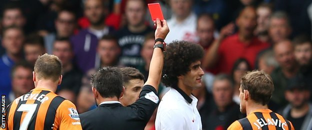 Marouane Fellaini red card