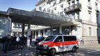 A police van drives past the Baur au Lac hotel in Zurich, Switzerland, 27 May 2015.