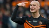 Jaroslaw Fojut shows his emotions with Dundee United