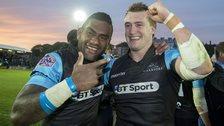 Stuart Hogg celebrates beating Ulster with Niko Matawalu