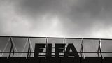 A logo of the FIFA is seen at the top of its headquarters on May 27, 2015 in Zurich