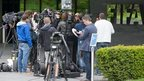 Reporters outside Fifa HQ, Zurich (27 May)