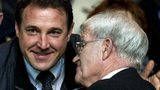 Former Celtic player Bertie Auld chats to Malky Mackay at Celtic Park