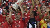 Sevilla lift the Europa League trophy
