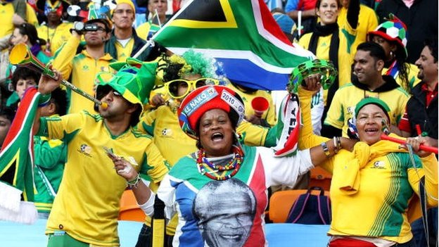 South Africa fans show their support for Nelson Mandela at the Opening Ceremony ahead of the 2010 FIFA World Cup South Africa Group A match between South Africa and Mexico at Soccer City Stadium on 11 June 11, 2010 in Johannesburg, South Africa