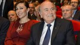 Sepp Blatter with girlfriend Linda Barras at Fifa congress opening ceremony (28 May)