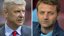 Arsenal manager Arsene Wenger and Aston Villa boss Tim Sherwood