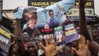 Hundreds of Nigerians celebrate at an intersection in the flashpoint northern city of Kaduna on March 31, 2015 the victory of main opposition All Progressives Congress (APC) presidential candidate Mohammadu Buhari.