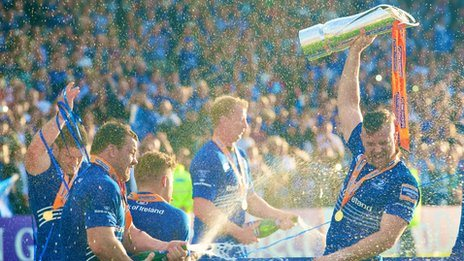 Leinster celebrate their 2014 Pro12 title