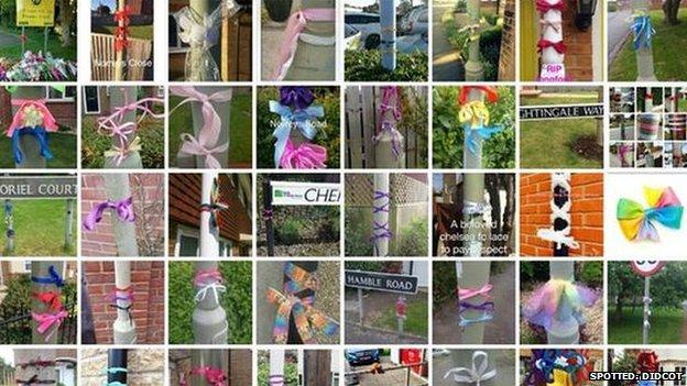 Didcot Ribbons Bbc News Killings Ribbon Tributes Spread Across Town