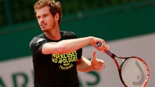 Andy Murray practises at the French Open