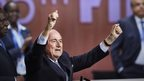 FIFA President Sepp Blatter gestures after being re-elected following a vote to decide on the FIFA presidency in Zurich 29 May 2015
