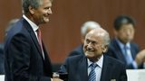 David Gill (left) and Sepp Blatter