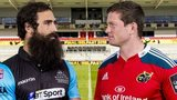 Glasgow Warriors' Josh Strauss (left) and Munster's Denis Hurley