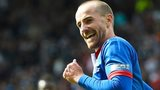 James Vincent celebrates his goal for Inverness