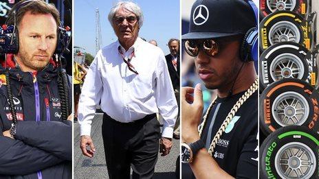 Horner, Ecclestone, Hamilton, tyres, Getty