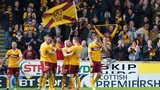 Motherwell fans celebrate Lionel Ainsworth's goal