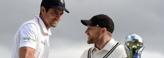 Captains Alastair Cook and Brendon McCullum with the Test series trophy