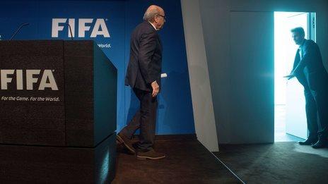 Sepp Blatter after speaking in Zurich