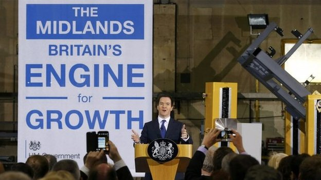 """Britain""""s Chancellor of the Exchequer George Osborne speaks during a visit to Garrandale Ltd"""