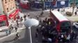 Blurry video grab of crowd around bus in Walthamstow - taken from above