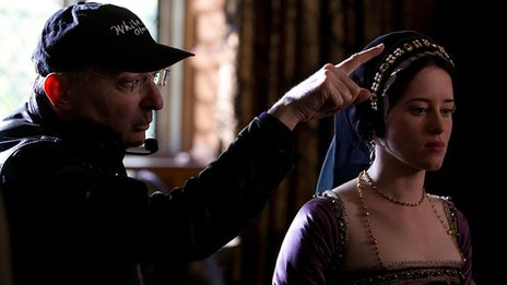 Peter Kosminsky and Claire Foy on set of Wolf Hall