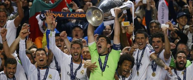 Real Madrid lift the Champions League trophy