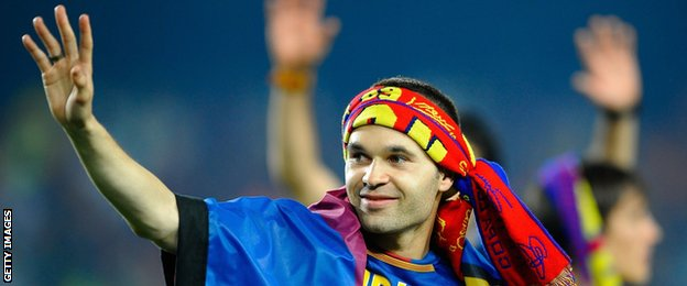 Andreas Iniesta celebrates Barcelona's 2009 Champions League victory over Manchester United