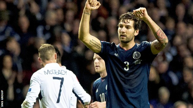 Scotland's Charlie Mulgrew celebrates after the 1-0 win over Republic of Ireland last year