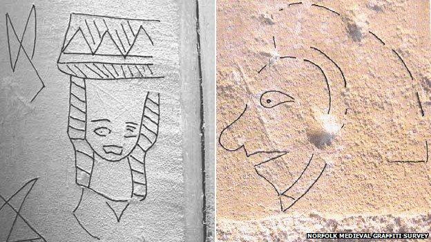 Norfolk graffiti survey uncovers 'medieval selfies'