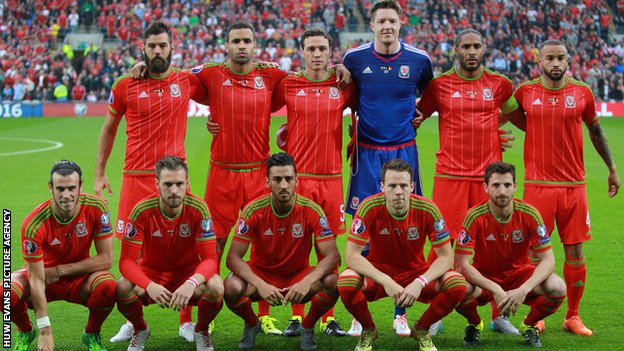 Wales team v Belgium, June 2015