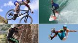 mountain biking, surfing, climbing and skateboarding