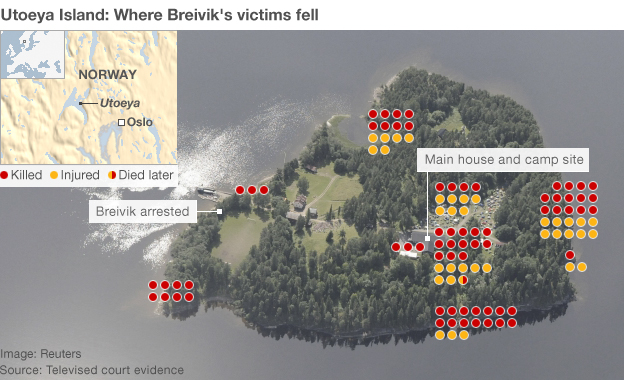Utoeya map shows where victims fell