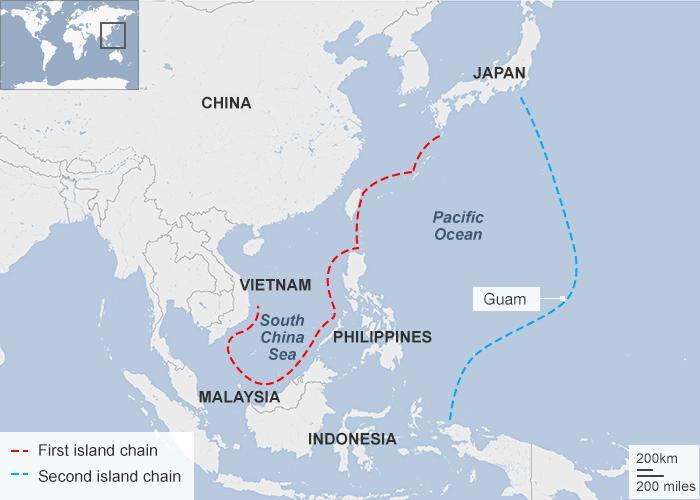 Serie di isole artificiali costruite dalla Cina nel Mar Cinese, dal Vietnam a Guam. Credits to: BBC.
