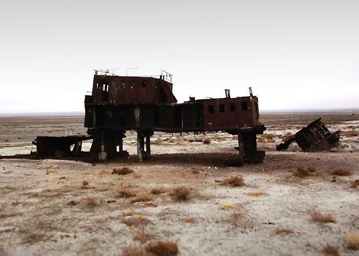 Rusting shipwreck