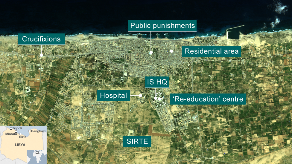 Map showing key locations used by so-called Islamic State in Sirte (Copernicus Sentinel-2/ESA image captured on 29 November 2015)