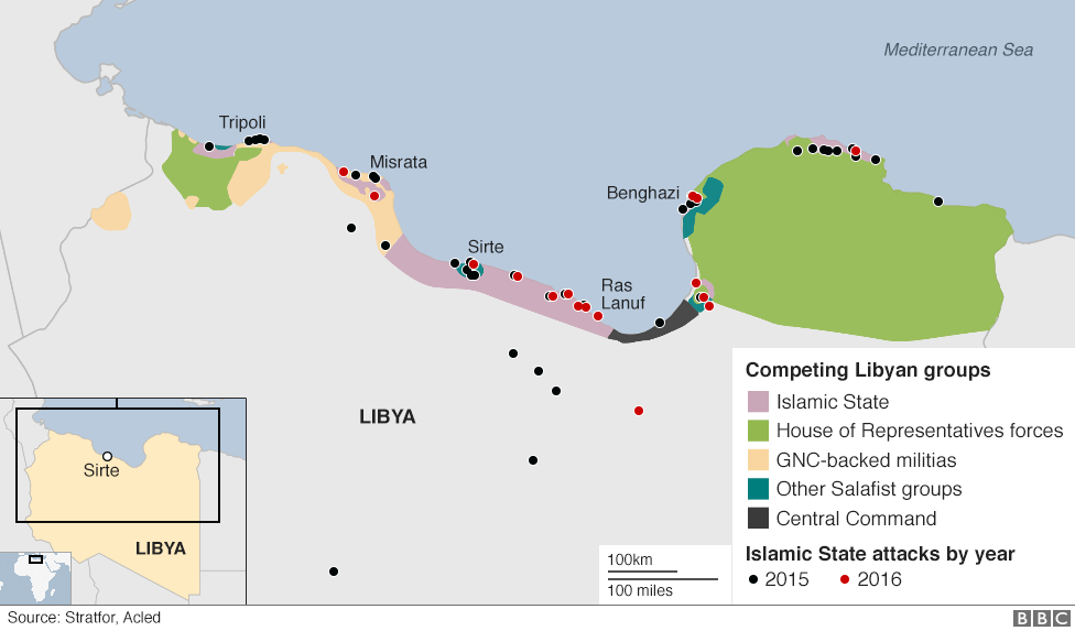 Libya - map of conflicting groups and IS attacks