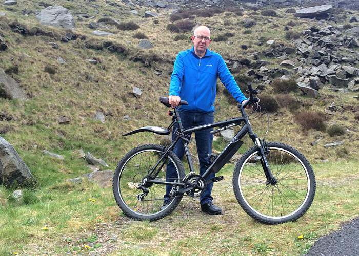 Cyclist Stuart Crowther at the spot where the body was found