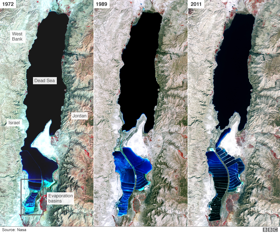 Three Nasa Satellite Images Showing How The Dead Sea Has Changed Since 1972
