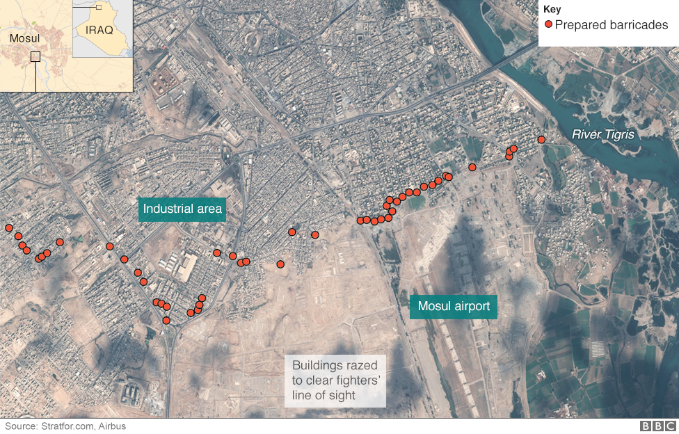 Mosul Satellite Images Reveal IS Barricades BBC News - World satellite map 2017