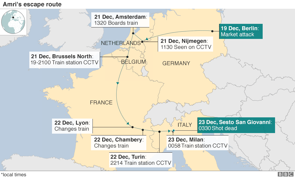 Berlin Market Attack How Did Anis Amri Escape BBC News - Berlin on world map